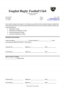 AGM Nomination Motion form