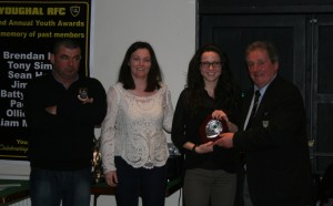 Ladies Captain Karen O'Mahony presents Ladies Player of the Year Award to Anna O'Brien