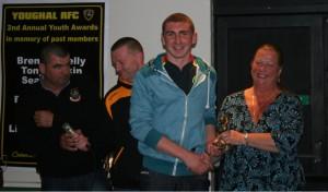Margaret Simkin presents the Tony Simkin Award to Jason Yellop