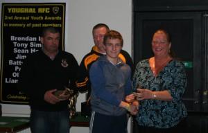 Margaret Simkin presents the Tony Simkin Award to Ryan Coady