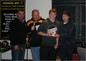 Paddy Lane Jnr presents Paddy Lane Award to Sean Foley